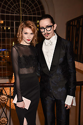 Joshua Kane and Francesca Merricks at the Floral Ball in aid of Sheba Medical Center hosted by Laura Pradelska and Zoe Hardman and held at One Marylebone, 1 Marylebone Road, London England. 14 March 2017.