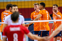 Bennie Tuinstra of Netherlands, Fabian Plak of Netherlands, Robbert Andringa of Netherlands in action during the CEV Eurovolley 2021 Qualifiers between Croatia and Netherlands at Topsporthall Omnisport on May 16, 2021 in Apeldoorn, Netherlands