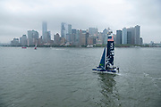 SailGP team USA foiling on the Hudson River during practice. Event 3 Season 1 SailGP event in New York City, New York, United States. 19 June 2019. Photo: Chris Cameron for SailGP. Handout image supplied by SailGP