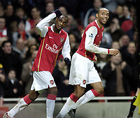 Photo: Olly Greenwood.<br />Arsenal v Charlton Athletic. The Barclays Premiership. 02/01/2007. Arsenal's Justin Hoyte celebrates scoring  with fellow scorer Thierry Henry