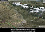 Peru map covering hikes from Huaraz to Punta Callan in the Cordillera Negra and to Laguna Churup in the Cordillera Blanca, South America.