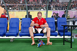 Wales' Alun Wyn Jones appears dejected after the final whistle of the 2019 Rugby World Cup bronze final match at Tokyo Stadium.