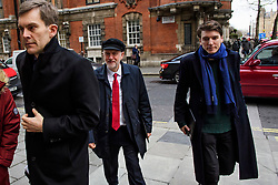 © Licensed to London News Pictures. FILE PICTURE: 10/01/2017. London, UK. Labour Party leader JEREMY CORBYN (centre) seen in London with Labour Party's Executive Director of Strategy and Communications SEUMAS MILNE (Left) and JAMES SCHNEIDER of Momentum (right). A BBC Panorama documentary, focusing on alleged anti semitism in the Labour Party is due to run this evening. Photo credit: Ben Cawthra/LNP