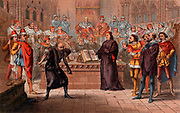 Portia, disguised as an advocate Balthazar, defends Antonio against Shylock's claim for a pound of flesh in settlement of his debt.  'The Merchant of Venice' Act IV, Scene I. Illustration by Robert Dudley (active 1858-1893) published 1856-1858 for the comedy 'The Merchant of Venice' by William Shakespeare, written between 1596 and 1598.  Chromolithograph.