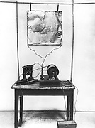 Replica of Marconi's first transmitter used in his early experiments in Italy, 1894. Acknowledgement to The Marconi Company Limited