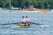 Belgrade, SERBIA, GBR W2X. bow. Frances HOUGHTON and Victoria THORNLEY. Heats at the  2014 FISA European Rowing Championships. Lake Sava. <br /> <br /> <br /> 12:15:04  Friday  30/05/2014<br /> <br /> [Mandatory Credit; Peter Spurrier/Intersport-images]<br /> 12:15:12  Friday  30/05/2014<br /> <br /> [Mandatory Credit; Peter Spurrier/Intersport-images] 2014 FISA European Rowing Championships. Lake Sava. <br /> <br /> <br /> 12:25:18  Friday  30/05/2014<br /> <br /> [Mandatory Credit; Peter Spurrier/Intersport-images]