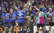 Twickenham, Surrey. UK., The forwards contest the high ball, 12.01.2002, during the, Harlequins vs Bridgend, Heineken Cup Rugby match at the Stoop Memorial Ground, [Mandatory Credit: Peter Spurrier/Intersport Images],