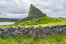 Exterior view of Dun Carloway broch, Isle of Lewis, Outer Hebrides, Scotland, United Kingdom