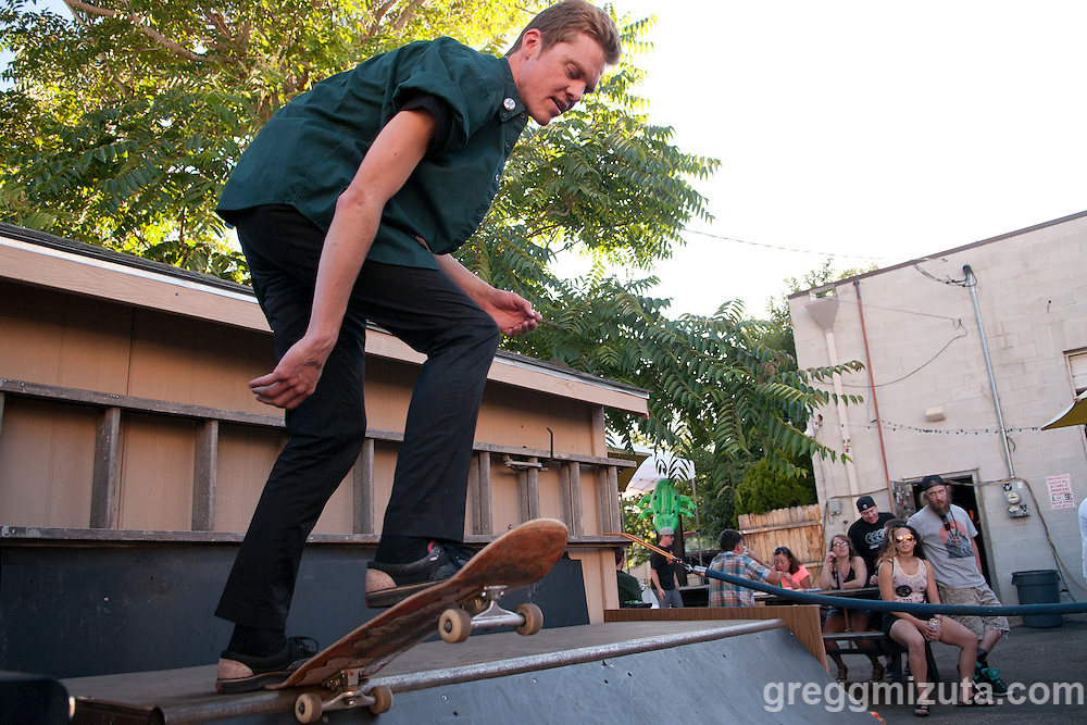 Scott Pemble competes in the mini ramp during the Mics and Mini Ramps event on June 25, 2016 at The Shredder in Boise, Idaho. (Gregg Mizuta/greggmizuta.com)<br /> <br /> Performances by Edable & Elms One, Axiom Tha Wyze & Andy O, Tony G, and Auzomatik. Food by Wetos Locos, and live painting by Elms One.