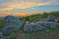 This rocky, treeless area is known as a glade. This glade is on the top of Bald Knob and provided the perfect place to watch the sunset while on a backpacking trip.<br /> <br /> Date Taken: May 5, 2014