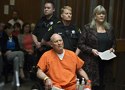 April 27, 2018 - Sacramento, California, U.S. - JOSEPH JAMES DEANGELO, the suspected East Area Rapist, is arraigned in a Sacramento courtroom and charged with murdering Katie and Brian Maggiore in Rancho Cordova in 1978. (Credit Image: © Hector Amezcua/Sacramento Bee via ZUMA Wire)