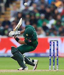 Pakistan's Babar Azam ducks a bouncer during the ICC Cricket World Cup group stage match at Edgbaston, Birmingham.