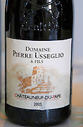 Domaine Pierre Usseglio, Chateauneuf-du-Pape. Rhone. France Europe. Bottle.