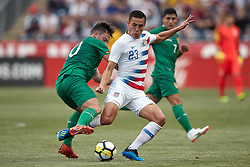 May 28, 2018 - Chester, PA, U.S. - CHESTER, PA - MAY 28: United States forward Rubio Rubin (23) battles with Bolivia forward Hector Ronaldo Sanchez (20) during the international friendly match between the United States and Bolivia at the Talen Energy Stadium on May 28, 2018 in Chester, Pennsylvania. (Photo by Robin Alam/Icon Sportswire) (Credit Image: © Robin Alam/Icon SMI via ZUMA Press)
