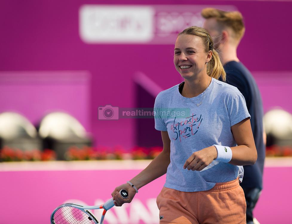 February 13, 2019 - Doha, QATAR - Anett Kontaveit of Estonia during practice at the 2019 Qatar Total Open WTA Premier tennis tournament (Credit Image: © AFP7 via ZUMA Wire)
