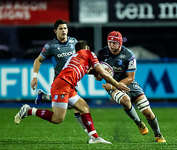 James Botham of Cardiff Blues is tackled by Ben White of Leicester Tigers<br /> <br /> Photographer Simon King/Replay Images<br /> <br /> European Rugby Challenge Cup Round 2 - Cardiff Blues v Leicester Tigers - Saturday 23rd November 2019 - Cardiff Arms Park - Cardiff<br /> <br /> World Copyright © Replay Images . All rights reserved. info@replayimages.co.uk - http://replayimages.co.uk