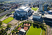 Nederland, Noord-Holland, Amsterdam, 27-09-2015; Amsterdam Zuidoost, Arenagebied met Ziggo Dome, Woonmall Villa ArenA Woonmall, voetbal stadion Arena. In de achtergrond Zuidoost, de Bijlmer.<br /> Football stadion Arena of Ajax in Amsterdam-South-east, shopping mall and concert hall Ziggo Dome in this area, residential area Bijlmer and IJmeer in the back.<br /> luchtfoto (toeslag op standard tarieven);<br /> aerial photo (additional fee required);<br /> copyright foto/photo Siebe Swart