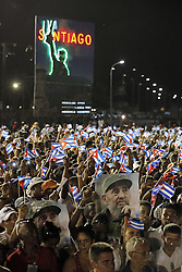 December 3, 2016 - Santiago De Cuba, CUB - Cubans at the Plaza Antonio Maceo during tribute ceremony for Fidel Castro, in Santiago de Cuba on Saturday, Dec. 3, 2016. (Credit Image: © Al Diaz/TNS via ZUMA Wire)