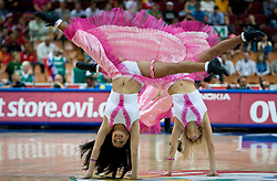 Cheerleaders Zalgiris of Lithuania during the EuroBasket 2009 Semi-final match between Slovenia and Serbia, on September 19, 2009, in Arena Spodek, Katowice, Poland. Serbia won after overtime 96:92.  (Photo by Vid Ponikvar / Sportida)