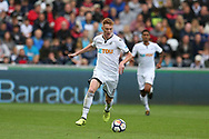 Sam Clucas of Swansea city © in action.  Premier league match, Swansea city v Newcastle Utd at the Liberty Stadium in Swansea, South Wales on Sunday 10th September 2017.<br /> pic by  Andrew Orchard, Andrew Orchard sports photography.