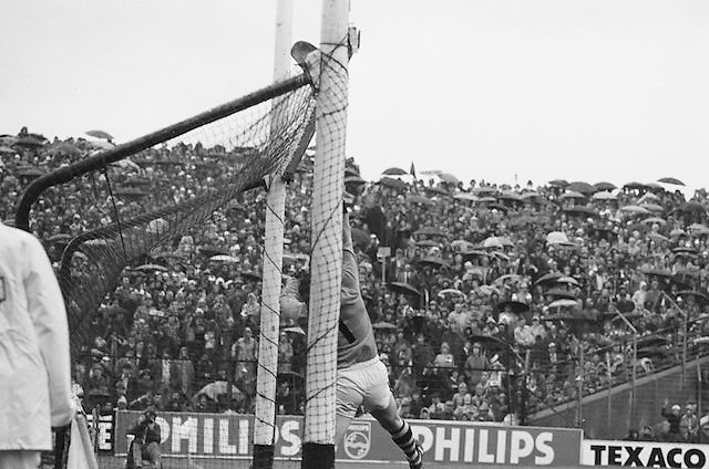 Goal keeper attempts to save ball during the All Ireland Senior Hurling Final in Croke Park - Kilkenny v Galway, Kilkenny 2-12, Galway 1-8, 2nd September 1979.