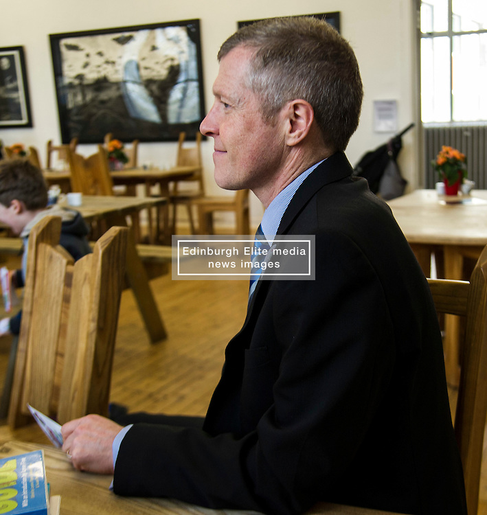 Pictured: Willie Rennie visited the surgery of Dr Book during his visit and picked up a reading prescription<br /> <br /> Scottish Liberal Democrat leader Willie Rennie  set out plans for a digital revolution in the way that children learn at schools during a visit to the Edinburgh Science Festival at Summerhall, Edinburgh, today <br /> <br /> Ger Harley   EEm 6 April 2016