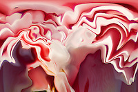 abstract fluid floating layers in gleaming white and red color on dark blurred background with shades