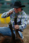 061911-Evergreen, COLORADO-evergreenrodeosun-Calvin Brevick, of Durango, CO, ties down a calf during the Evergreen Rodeo Sunday, June 19, 2011 at the El Pinal Rodeo Grounds..Photo By Matthew Jonas/Evergreen Newspapers/Photo Editor