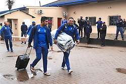 Johannesburg 14-10-18 South Africa v Zimbabwe T20I at Willowmore Park, Benoni. Proteas players Tabraiz Shamzi and Gihan Cloete negiotate rain puddles as they arrive for the game.<br /> Picture: Karen Sandison/African News Agency(ANA)
