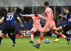 MILAN, Nov. 7, 2018  FC Barcelona's Malcom (2nd L) scores his goal during the UEFA Champions League Group B match between FC Inter and FC Barcelona in Milan, Italy, on Nov. 6, 2018. The match ended with 1-1 draw. (Credit Image: © Augusto Casasoli/Xinhua via ZUMA Wire)