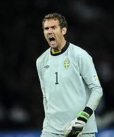 Fotball<br /> VM-kvalifisering<br /> Tyskland v Sverige<br /> 16.10.2012<br /> Foto: Witters/Digitalsport<br /> NORWAY ONLY<br /> <br /> Torwart Andreas Isaksson (Schweden)<br /> Fussball, WM-Qualifikation, Deutschland - Schweden 4:4