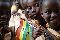 Ghana, Accra, Kokomlemle, 2007. Students at the Accra New Town Primary School line up prior to an Independence Day assembly..