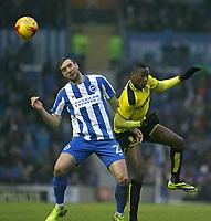 Football - 2016 / 2017 Sky Bet Championship - Brighton & Hove Albion vs. Burton Albion<br /> <br /> Brighton's Shane Duffy wins a header against Lucas Akins of Burton Albion at the Amex Stadium Brighton<br /> <br /> COLORSPORT/SHAUN BOGGUST