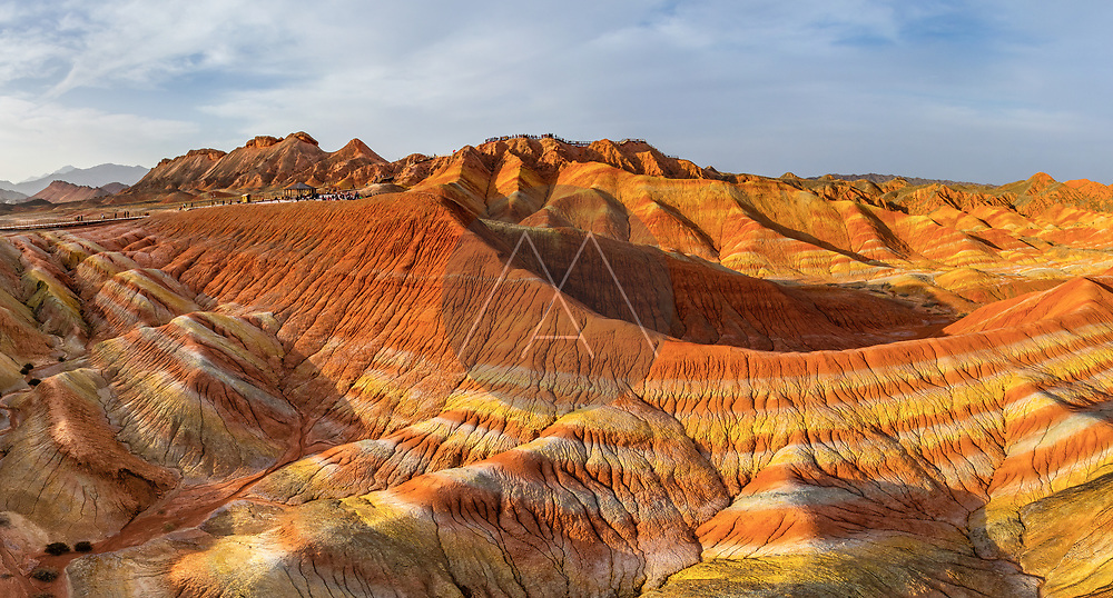Aerial view of Colourful mountains of the Zhangye Danxia Geopark, China