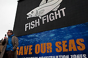 London, UK. Monday 25th February 2013. Rally by the organisation Fish Fight to show the government how much support there is for more marine protection, and the 127 MCZs (Marine Conservation Zones). Television cook and campaigner Hugh Fearnley-Whittingstall leads this march towards Westminster with the every growing number of Fish Fighters following the success of the Channel 4 series, Hugh's Fish Fight, which having taken it's case and approaching 1 million signatures is close to changing EU law on discards.