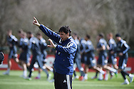 Wales manager Chris Coleman looks on during the Wales football training team training at the Vale Resort, Hensol, near Cardiff, South Wales on Wed 25th March 2015. The Wales team are preparing for their next Euro 2016 qualifier against Israel this weekend. pic by Andrew Orchard, Andrew Orchard sports photography.