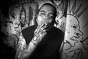 Guadalajara, Jalisco, México. 2009 Heblen trabaja limpiando zapatos, así se gana la vida, mientras en sus ratos libres, escucha música punk y se apasiona con esta filosofía de vida. <br /> foto giorgio viera.