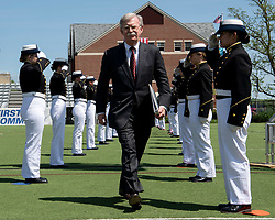 May 22, 2019 - New London, CT, United States of America - U.S. National Security Advisor Ambassador John R. Bolton walks through an Coast Guard honor guard during the Coast Guard Academy commencement ceremonies May 22, 2019 in New London, Connecticut. (Credit Image: © Matthew Thieme via ZUMA Wire)