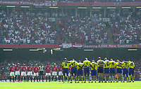 Photo: Richard Lane.<br />Arsenal v Manchester United. The FA Charity Shield 2003. 10/08/2003.<br />A minutes silence to remember Jimmy Davis, the Manchester United player killed in a car crash.