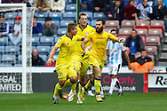 Mirco Antenucci of Leeds united (r) celebrates with his teammates after scoring his teams 1st goal. Skybet football league Championship match, Huddersfield Town v Leeds United at the John Smith's Stadium in Huddersfield, Yorks on Saturday 7th November 2015.<br /> pic by Chris Stading, Andrew Orchard sports photography.