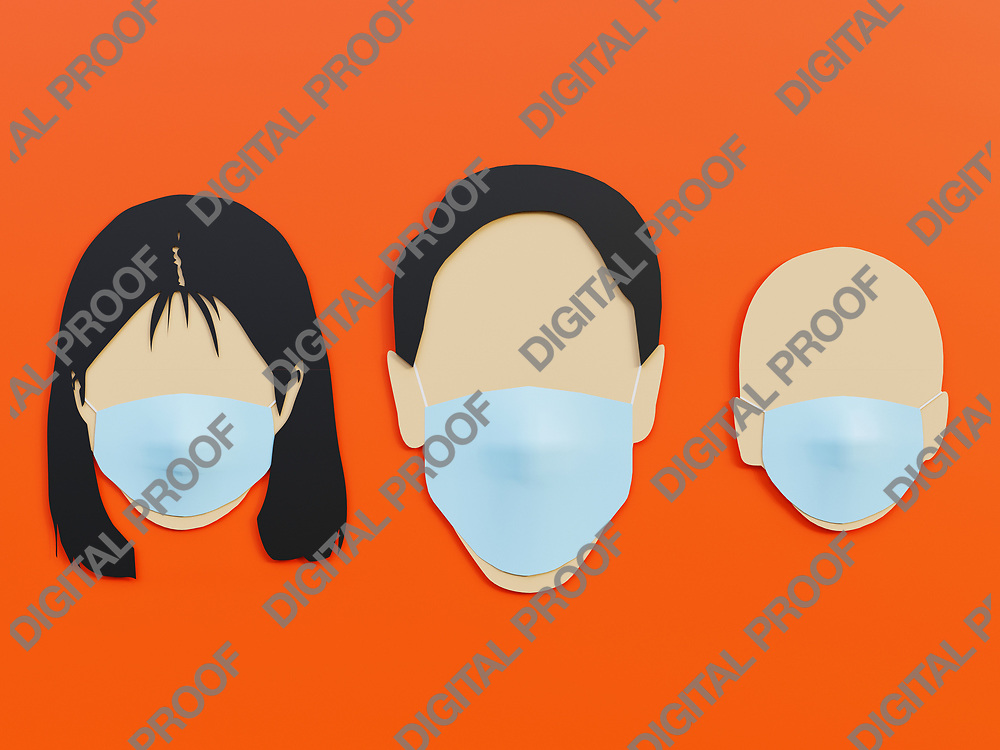 Family, Men woman and baby wearing medical mask as protection in Lava Orange background with minimalist concept - 3D Rendering Concept