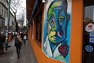 """A fresco of the """"tango flavor"""" in a central street of Buenos Aires, recalls the golden era el tango are everywhere in the city."""