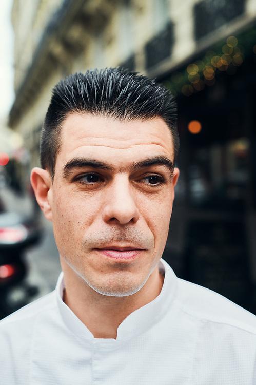 Chef Xavier Caussade posing in the street where Maison de la Truffe is located. Paris, France. Nov. 29, 2018. <br /> Le Chef Xavier Caussade prends la pose dans la rue ou est situe la Maison de la Truffe. Paris, France. 29 novembre 2018.
