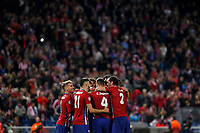 Atletico de Madrid´s players celebrate Jackson Martinez´s goal during Champions League soccer match between Atletico de Madrid and FC Astana at Vicente Calderon stadium in Madrid, Spain. October 21, 2015. (ALTERPHOTOS/Victor Blanco)