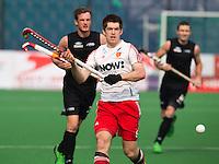 NEW DELHI - Henry Weir van Engeland tijdens de derde poulewedstrijd in de finaleronde van de Hockey World League tussen de mannen van Engeland en Nieuw-Zeeland. ANP KOEN SUYK
