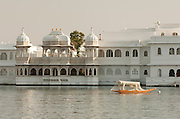 A luxury hotel at Lake Pichola in Udaiper, also known as the City of Lakes, Rajasthan, India