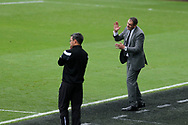 Swansea city manager Paul Clement ® directs his players from his technical area. Premier league match, Swansea city v Huddersfield Town at the Liberty Stadium in Swansea, South Wales on Saturday 14th October 2017.<br /> pic by  Andrew Orchard, Andrew Orchard sports photography.