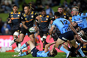 Sean Wainui of the Chiefs looks to pass the ball during the Round 5 Trans-Tasman Super Rugby match between NSW Waratahs and Waikato Chiefs at Brookvale Oval in Sydney, Saturday, June 12, 2021. (AAP Image/Dan Himbrechts) NO ARCHIVING, EDITORIAL USE ONLY