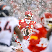 KANSAS CITY, MO - DECEMBER 15: Patrick Mahomes #15 of the Kansas City Chiefs rolls out during a third quarter touchdown throw in the third quarter against the Denver Broncos at Arrowhead Stadium on December 15, 2019 in Kansas City, Missouri. (Photo by David Eulitt/Getty Images)