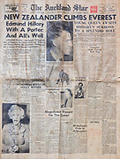 New Zealander climbs Everest , front page The Auckland Star New Zealand newspaper 2nd June 1953, after Edmund Hillary and Tenzing Norgay's first ascent of Mt Everest.